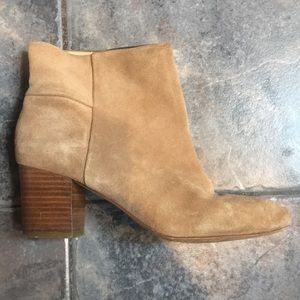 Chunky block heel taupe booties
